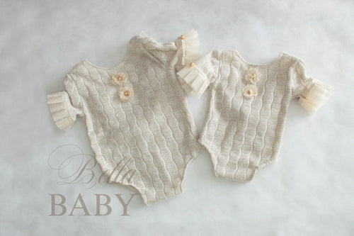 bella-baby-photo-props - Gold newborn to sitter romper and headband set. Newborn photography prop. Sitter photo prop.