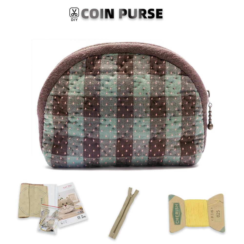 Coin Purse Making Kit - Caro motifs Pattern - Sewing material kit - Oh My Crafts
