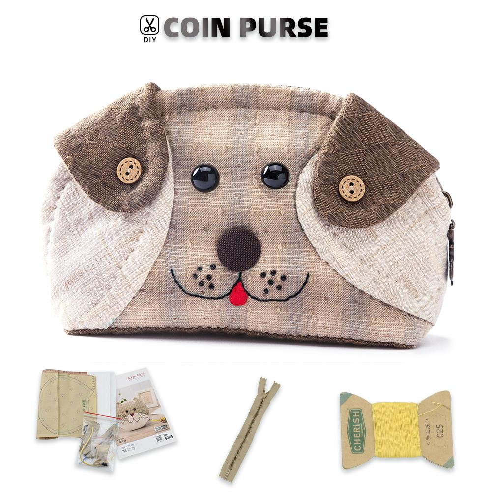 Coin Purse Making Kit - Dog Pattern - Sewing material kit - Oh My Crafts