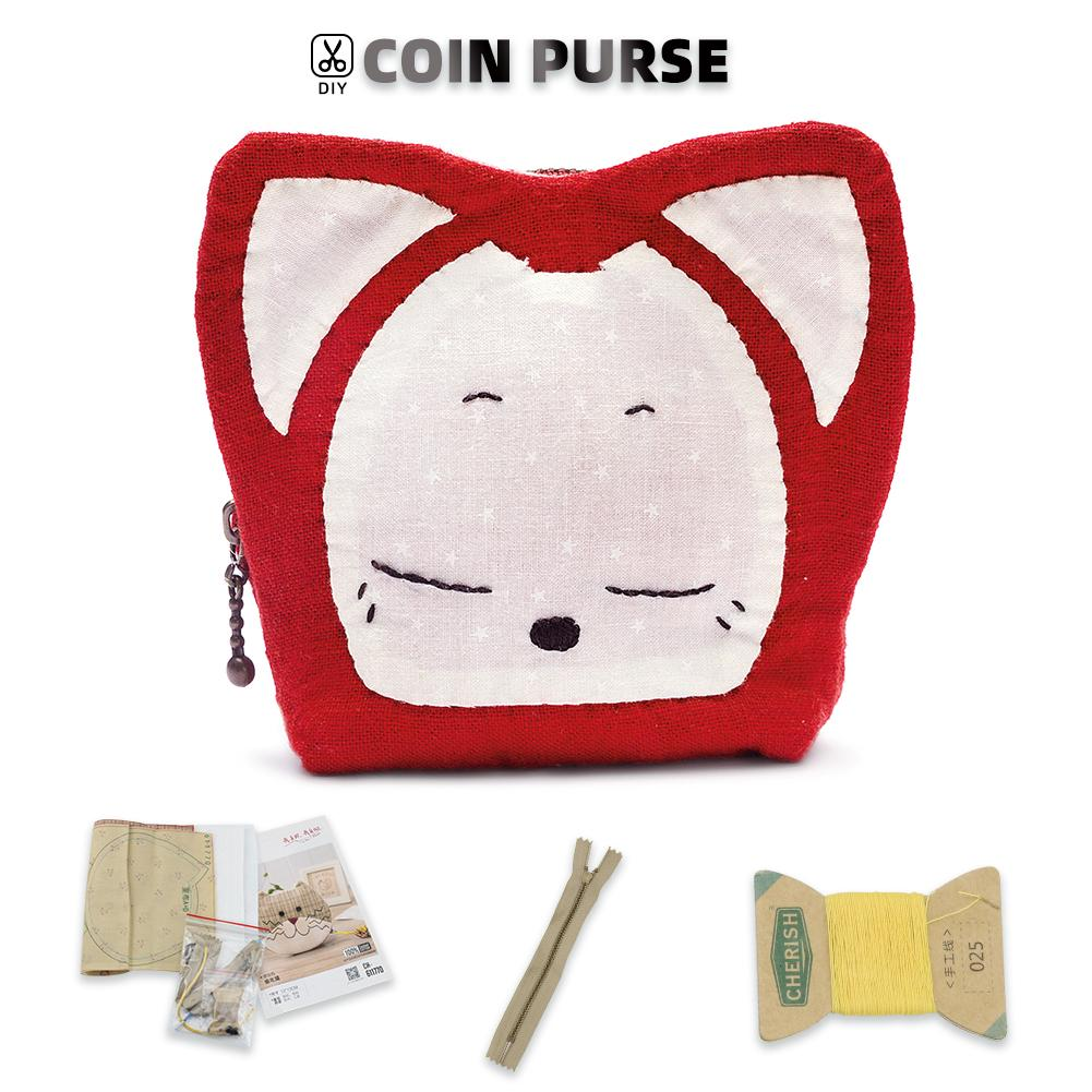 Coin Purse Making Kit - Fox Pattern - Sewing material kit - Oh My Crafts