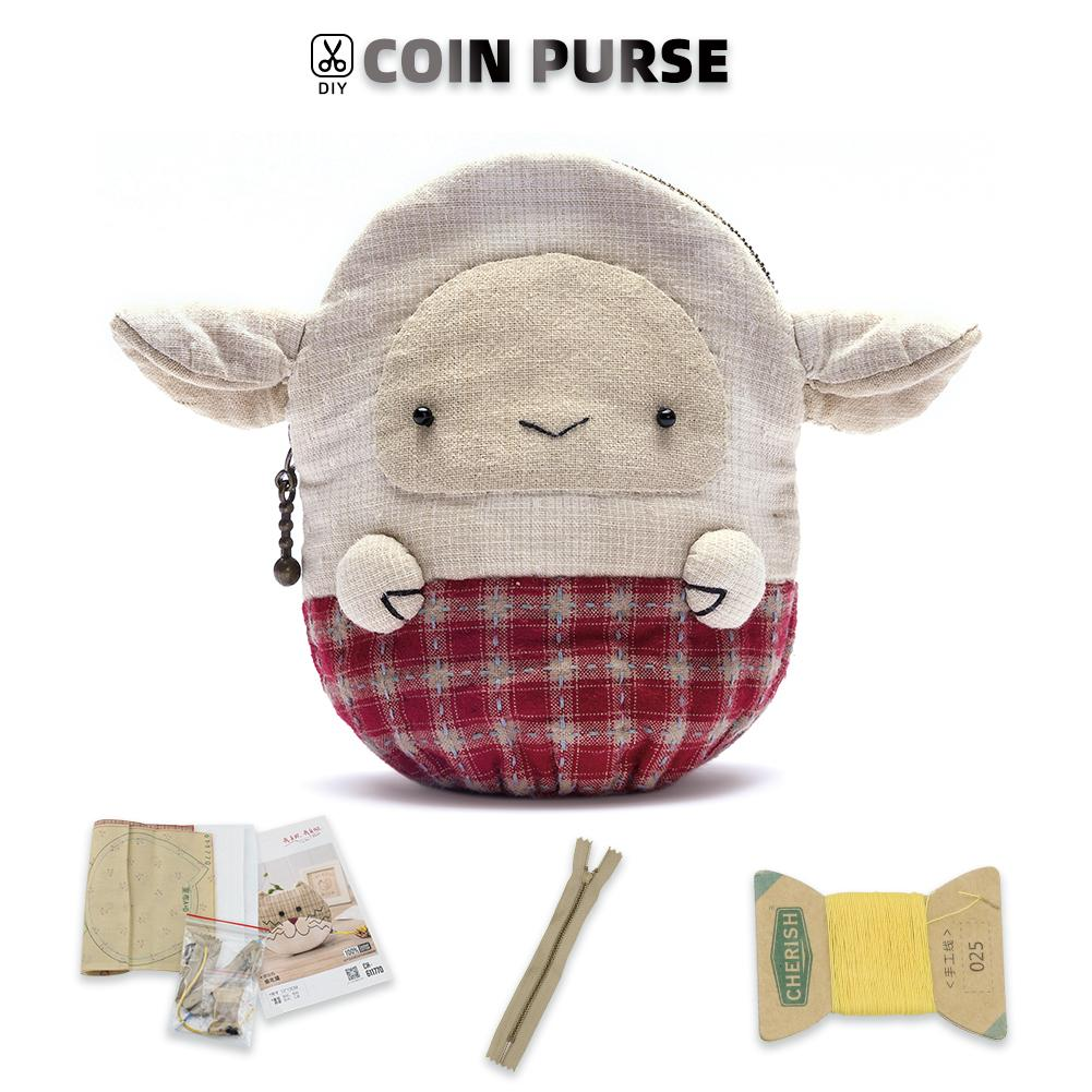Coin Purse Making Kit - Lamb Pattern - Sewing material kit - Oh My Crafts