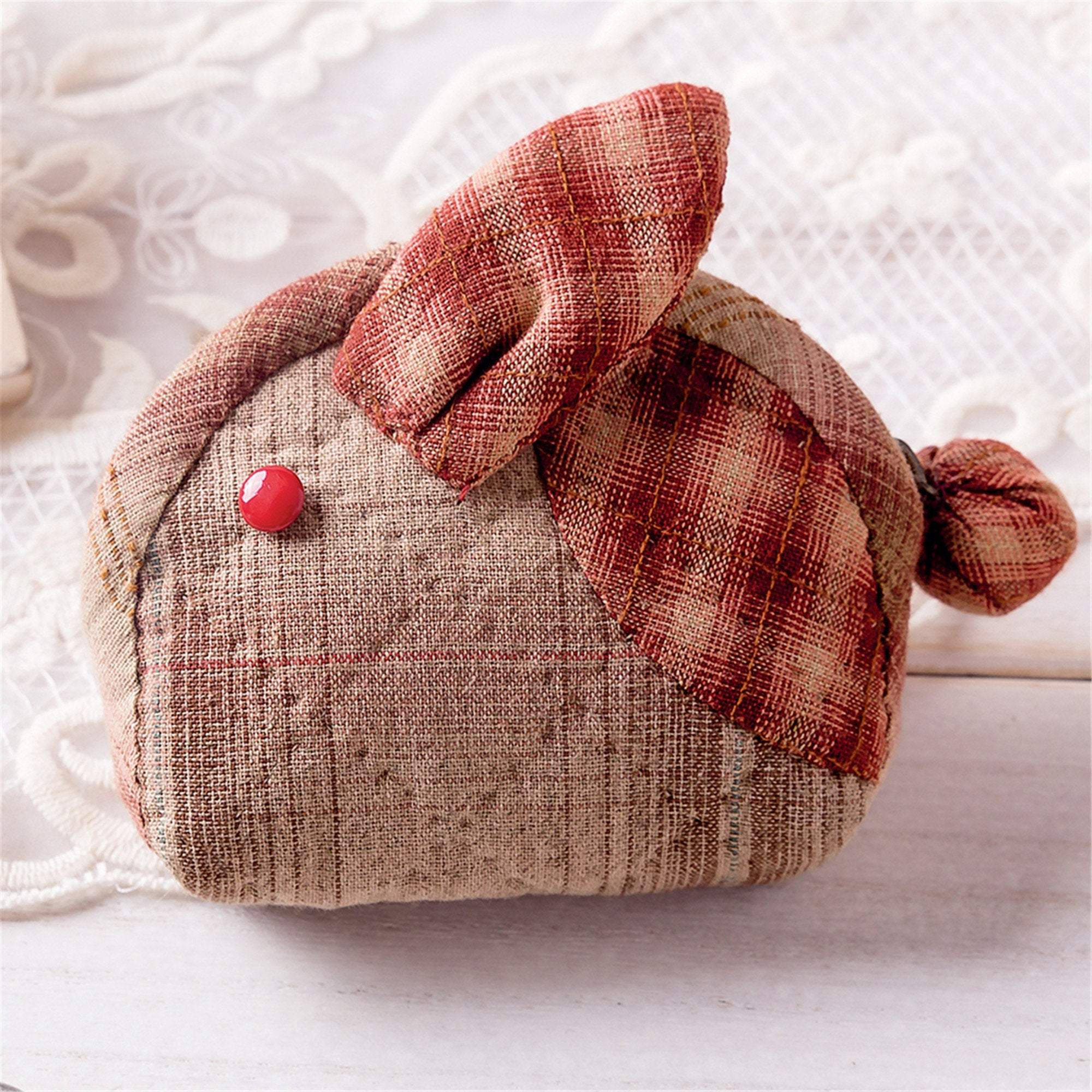 Coin Purse Making Kit - Red Rabbit Pattern - Sewing material kit - Oh My Crafts