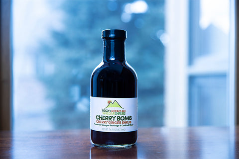 Cherry Bomb Vinegar shrubs can be used as a cocktail (or mocktail) mixer, salad dressing, or delicious marinade