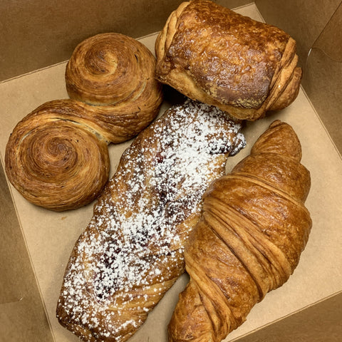 Croissant Box from Rebel Bread, a community bakery & bake school, available at farmers market via online ordering & curbside pick-up. More meal kits from local restaurants also available. Shop local!