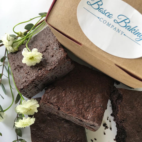 Gluten-free fudge brownies for curbside pick-up in Denver from Bosco Baking