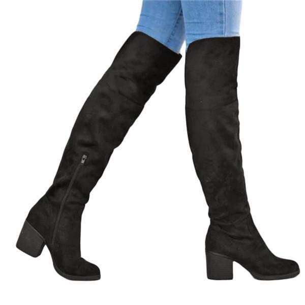 Suremoda Womens Stylish Top Over Knee Heel boots