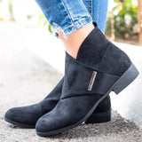 Suremoda Round Toe Wrap Front Side Zipper Ankle Boots