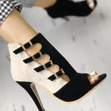 Suremoda Hollow Out Buckled High Heels