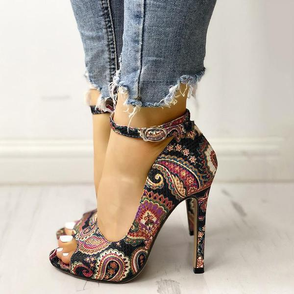 Suremoda Ethnic Print Ankle Strap High Heels