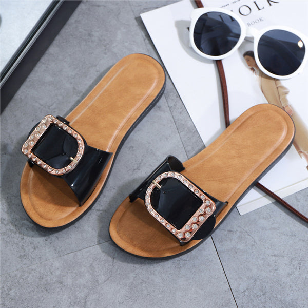 Suremoda Open Toe Buckle Slide Slippers