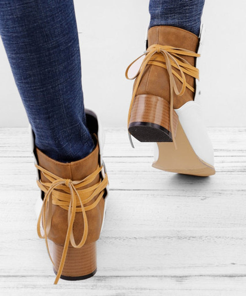 Suremoda Lace up Stacked Heels Ankle Boots