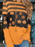 Suremoda Striped Pumpkin Drawstring Hoodie
