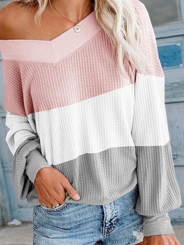 Suremoda Autumn V Neck Bat Sleeve Color Matching Sweater (3 Colors)