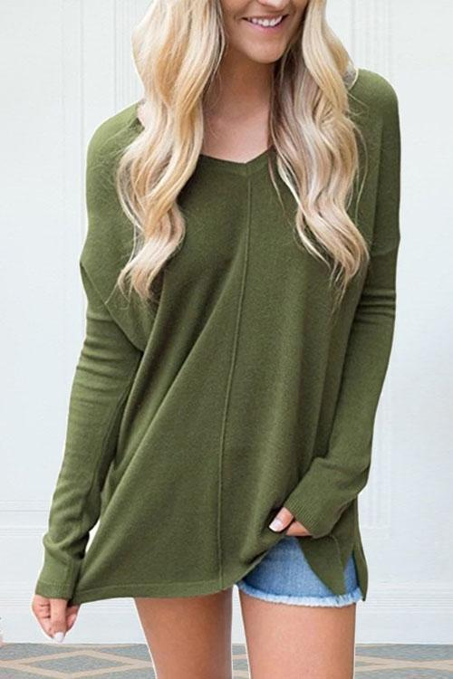 Suremoda V-Neck Long-Sleeved Versatile Bottoming Sweatshirt