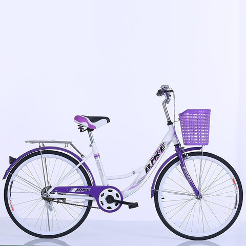 24-26 Inch Portable Bicycle Adult Bicycle With Basket Single Speed Student Commuter Bike Style C