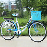 24-26 Inch Portable Bicycle Adult Bicycle With Basket Single Speed Student Commuter Bike Style D