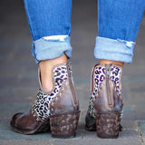 Suremoda Cut-Out Patchwork White Leopard Ankle Boots