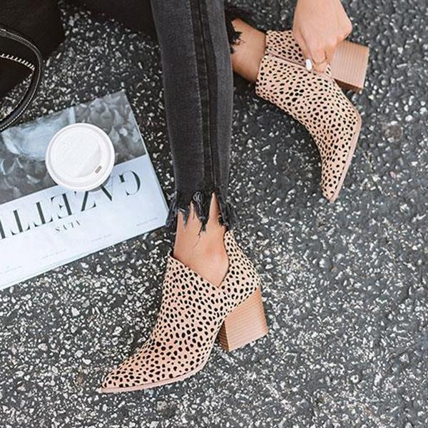 Suremoda Fashion Stylish Pointed Toe Leopard Booties(Ship in 24 Hours)