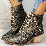 Suremoda Pointed Toe Lace-up Snakeskin Chunky Heeled Boots