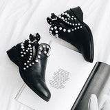 Suremoda Daily Black Adjustable Buckle Rivet Boots