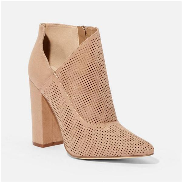 Suremoda Cutout Mesh-Design Pointed Zipper High Heels