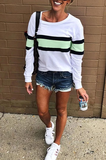 Suremoda Striped Green Sweatshirt