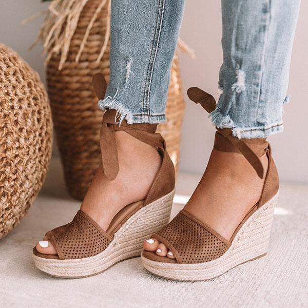 Suremoda Espadrille Lace Up Wedge Braided Sandals