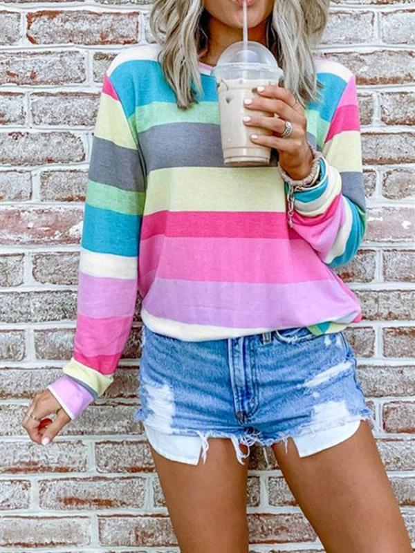 Suremoda Rainbow Striped Multicolor Sweatshirt