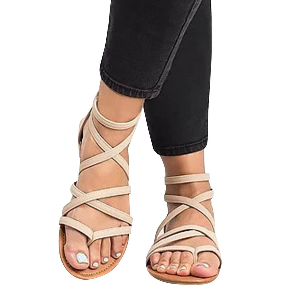 Suremoda Thong Criss Cross Gladiator Sandals