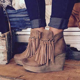 Suremoda Artificial Leather Tassel Wedge Boots