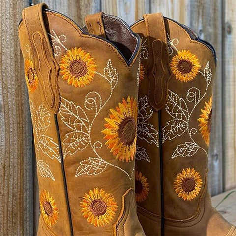 suremoda Sunflower Cowgirl Boots