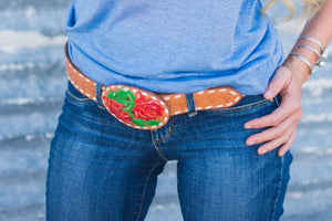 Belt - White Buckstitch with Red Rose Buckle