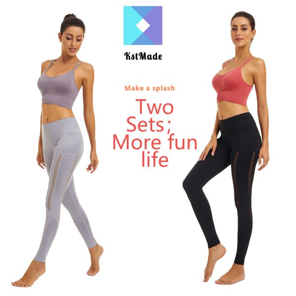 Women Sports Yoga suits ,sportswear suit running gym yoga exercise fitness training suit, aerobics sportswear,Women Two Pieces Yoga Top and Leggings Set Lady Fitness Gym Clothes Yoga Suit Long Yoga Workout Pants Sport Padded Bra Top - KSTMADE