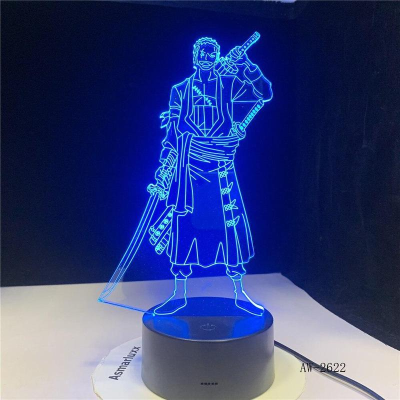 Lampe Acrylique One Piece <br> Zoro Roronoa