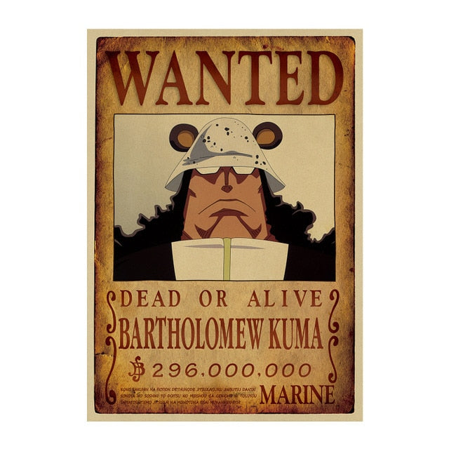 Poster Wanted Bartholomew Kuma One Piece