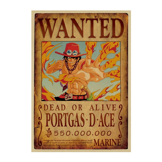 Poster One Piece Wanted <br> Portgas D. Ace