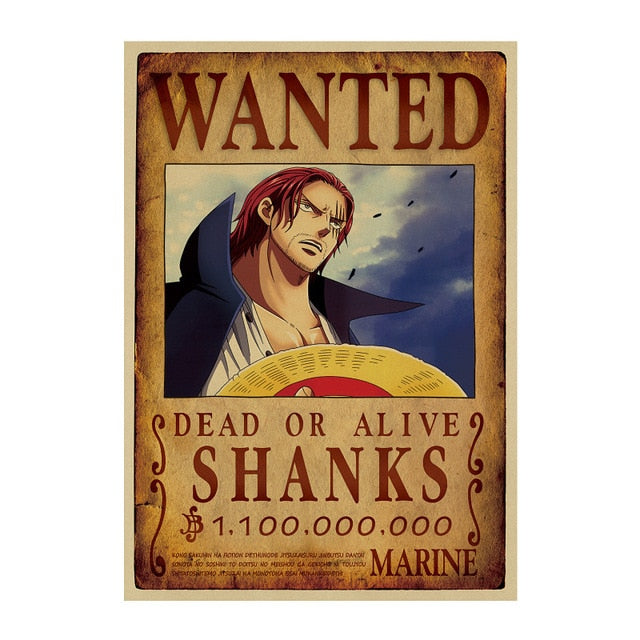 Poster Wanted Shanks One Piece