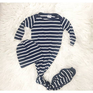 Navy Stripe Knotted Gown | 2 Piece Set