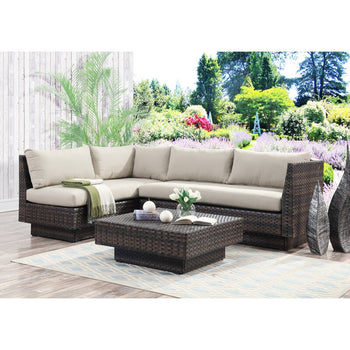 3 Piece Rattan Sectional Seating Group with Cushions