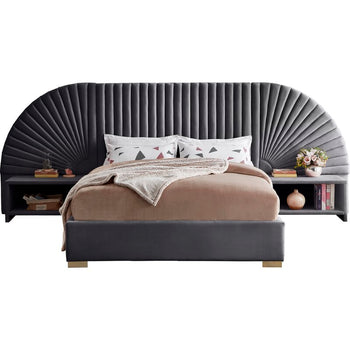 KING- Upholstered Low Profile Platform Bed with night stands