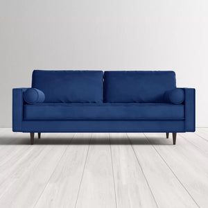 "84"" square arm velvet sofa"