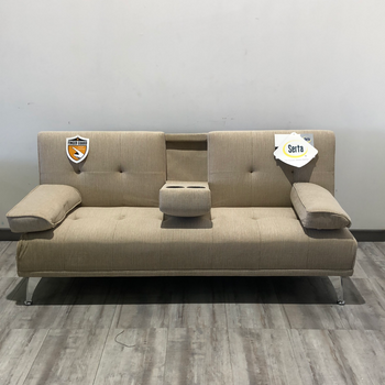 Beige Futon Sofa Bed with Cup Holders