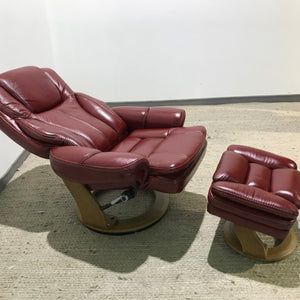 Genuine leather reclining armchair with ottoman