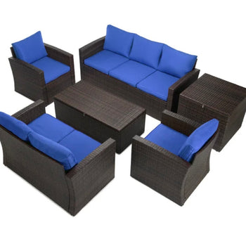 6 piece rattan sofa seating group with cushions