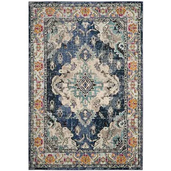 Oriental Navy/Light Blue Area Rug