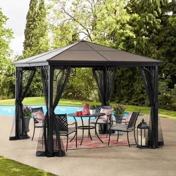 10 ft. x 10 ft. Black Steel Gazebo with Polycarbonate Hip Roof Hardtop