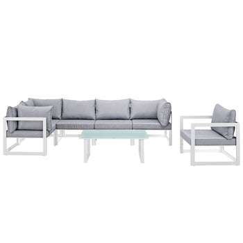 Outdoor Patio 7 Piece Sectional Seating Group with Cushions