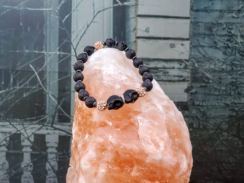 Black Skulls with Rose Sparkles on Lava Stone Bracelet