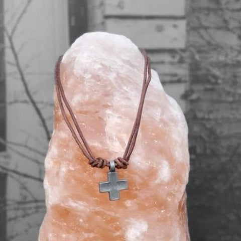 Mens leather adjustable necklace with metal Cross pendant. Inspired by the same necklaces that GHW Crew wears.