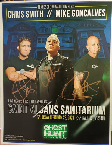 Autographed 8x10 Promotional 2020 Saint Albans Ghost Hunt w/Chris & Mike